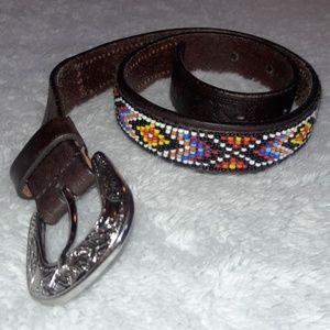 Land's End Native American Design Beaded Belt Sz S